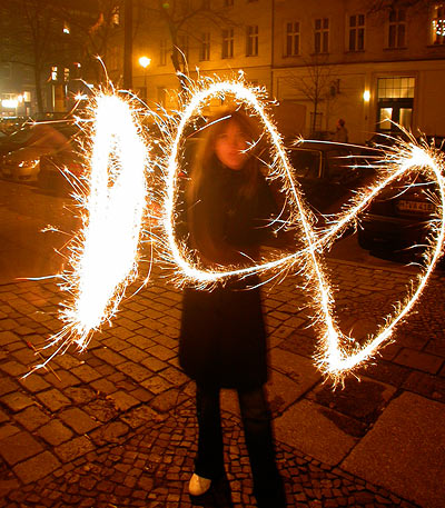 Silvester new year's eve 2006 Berlin Wunderkerze 1