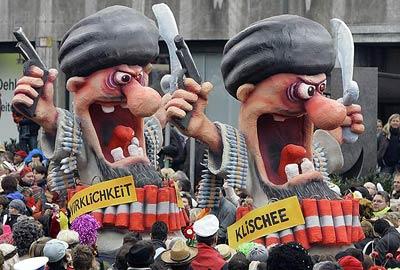 Wirklichkeit Klischee - Turbanträger Selbstmordattentäter, Karneval Rosenmontagszug Düsseldorf 2007