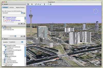 GoogleEarth 3D-Gebäude von Düsseldorf