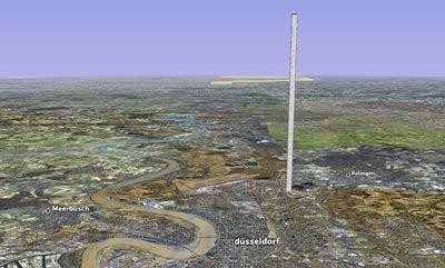 Gigantischer Turm in Düsseldorf-Rath, GoogleEarth-Fake