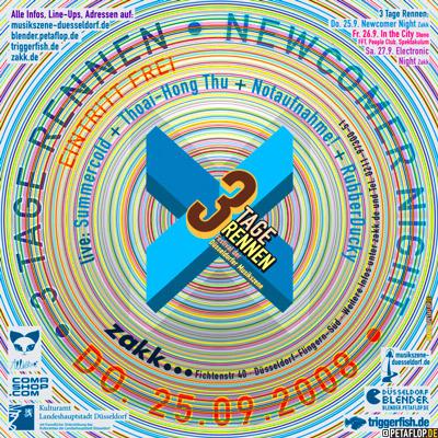 live: Summercold + Thoai-Hong Thu + Notaufnahme! + RubberDucky - 3-Tage-Rennen-2008-Newcomer-Night-25.09.2008-Zakk-Duesseldorf-PETAFLOP.DE-graphics-flyer-design-A
