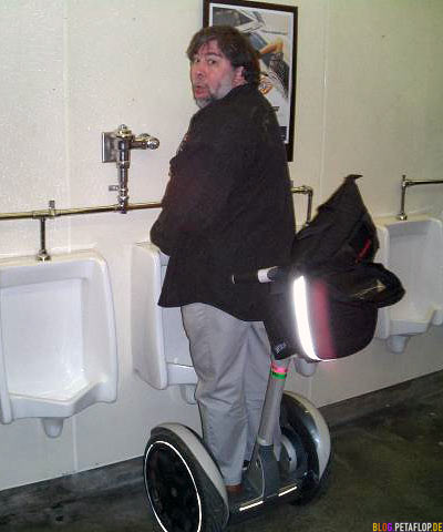 SteveWozniak using the urinal on his segway
