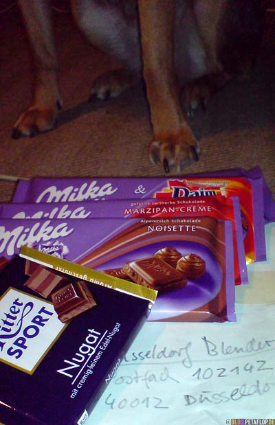 Duesseldorf-Blender-Schokoladen-chocolate-Sponsoring-Penelope-Milka-Noisette-Marzipan-Creme-Daim-Ritter-Sport-Nougat-Fina-Hund-dog