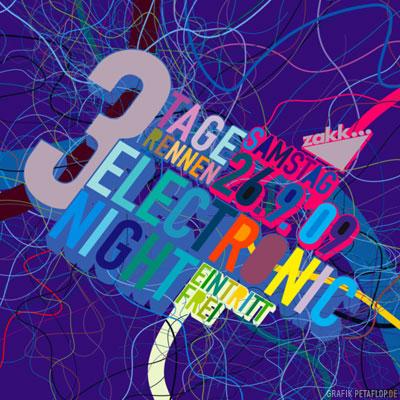 Flyer-Design-Electronic-Night-A-3TR-2009-Petaflop-Graphic-zakk-3-Tage-Rennen-Duesseldorf