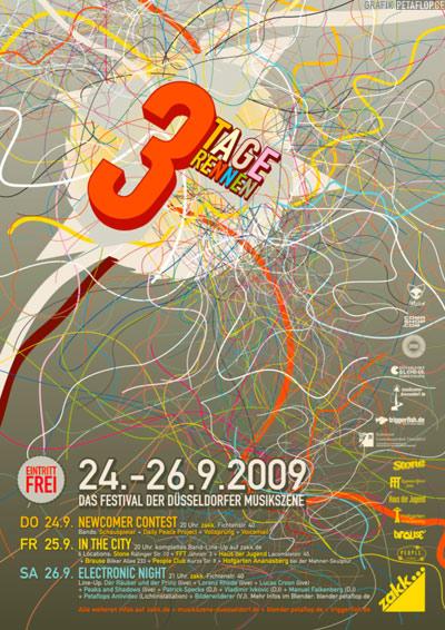 Poster-Design-3TR-2009-Petaflop-Graphic-Design-zakk-3-Tage-Rennen-Duesseldorf