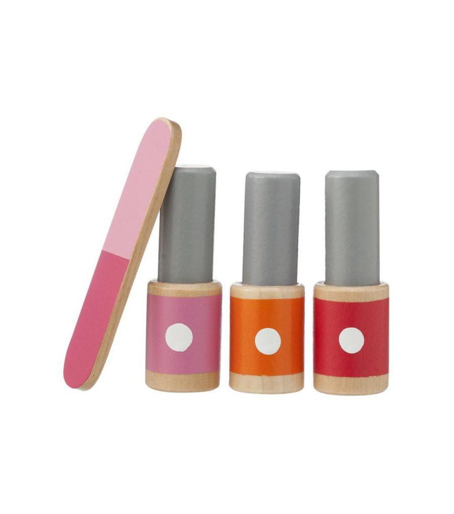 HEMA Holzspielzeug wood toy wooden toys Nagellackfläschchen und Nagelfeile Nagellack Nail Polish nail file Beauty